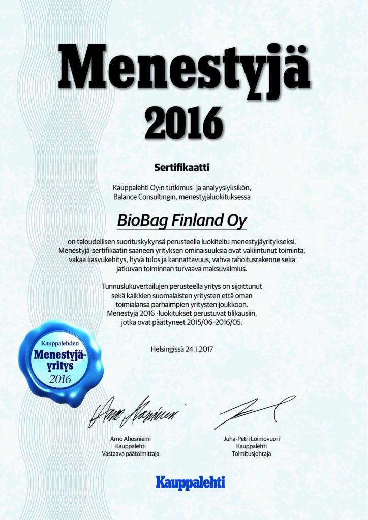 Menestyjä-sertifikaatin BioBag Finland
