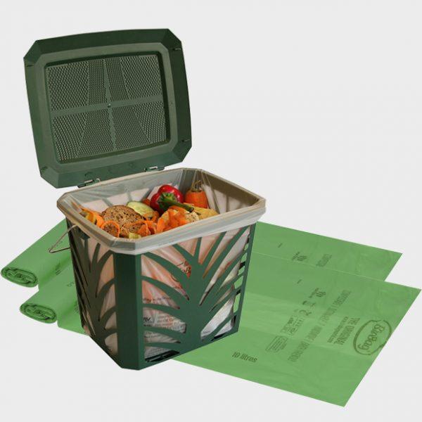 BioBag Startpakke-MaxAir ventilert avfallsbøtte og matavfallsposer 10L-komposterbar og biologisk nedbrytbar-kategori