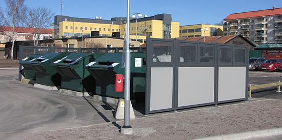 avskjerming av store avfallsbeholdere