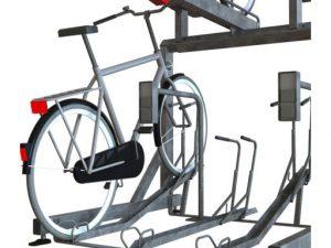 Zenzo Miljø - Sykkelprodukter - 2ParkUp sykkelstativ i to etasjer - tilvalg ladeutak for EL-sykkel