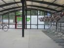 Sykkelhus Tellus Duo - interiør to etasjers sykkelparkering