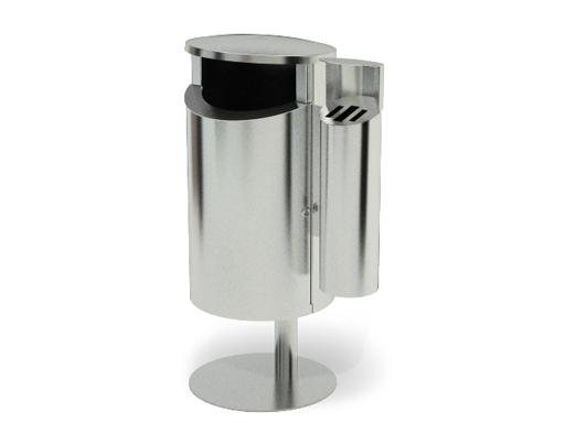 Novus avfallsbeholder kan leveres med sidemontert askebeger.