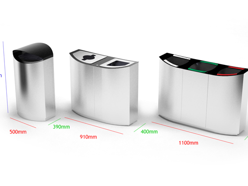 Wave-serien er stilige beholdere i høy kvalitet til avfallssortering.