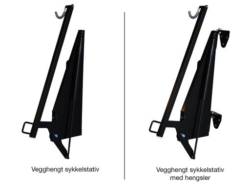Vegghengt sykkelstativ uten og med hengsler.