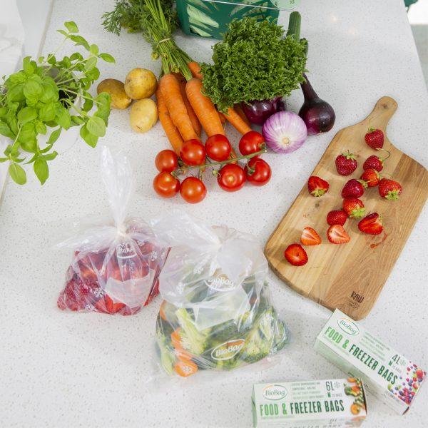 BioBag Fryseposer miks med 4 og 6 l-biologisk nedbrytbare og komposterbare fryseposer-4l og 6l fryseposer-miljøriktig fryseposer-nedfrysing av mat
