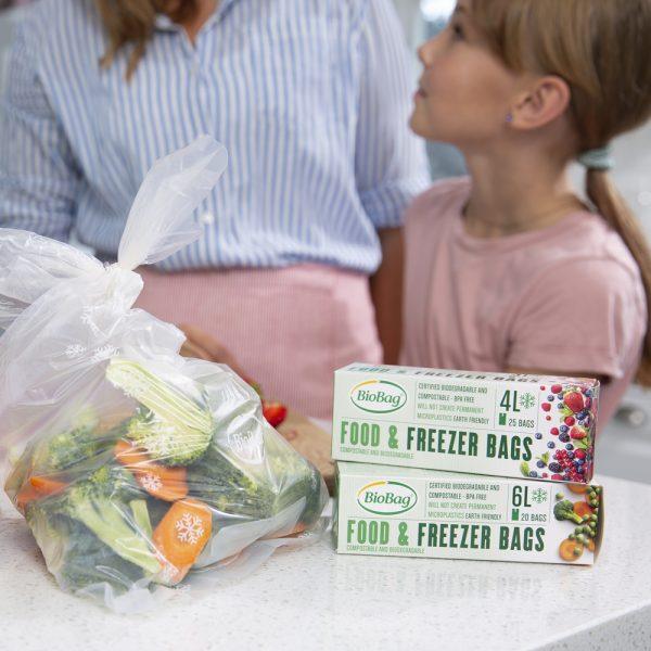 BioBag Fryseposer miks med 4 og 6 l-biologisk nedbrytbare og komposterbare fryseposer-4l og 6l fryseposer-miljøriktig fryseposer