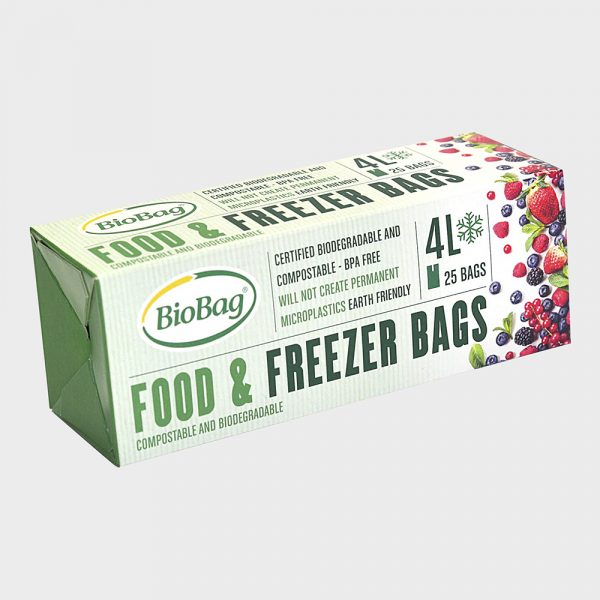 Biologisk nedbrytbare og komposterbare fryseposer-4 liter