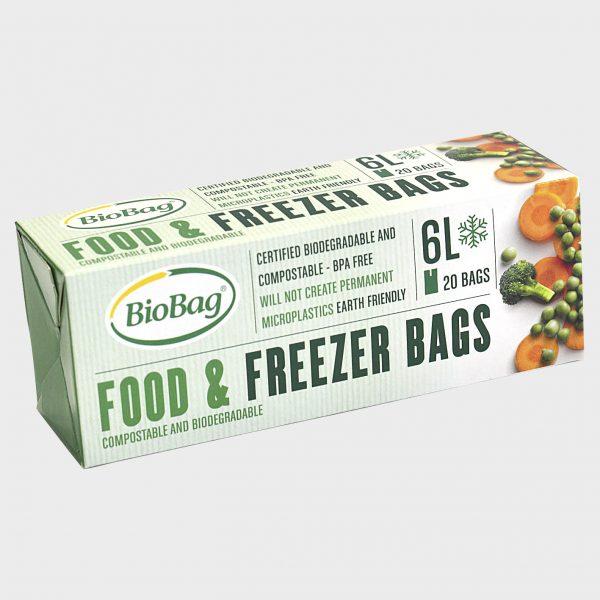 Komposterbare og bionedbrydelige fryseposer 6 liter.
