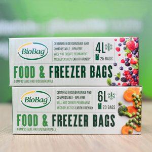 BioBag Fryseposer miks med 4 og 6L-biologisk nedbrytbare og komposterbare fryseposer